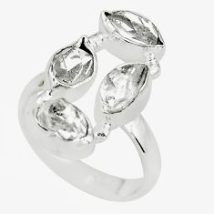 8.80cts natural white herkimer diamond 925 sterling silver ring size 6.5 p64845