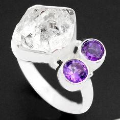 9.65cts natural white herkimer diamond amethyst 925 silver ring size 9 p74050