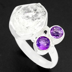 9.63cts natural white herkimer diamond amethyst 925 silver ring size 9 p74057