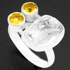8.43cts natural white herkimer diamond citrine 925 silver ring size 9 p74026