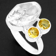 8.22cts natural white herkimer diamond citrine 925 silver ring size 8 p74035