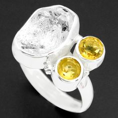 7.67cts natural white herkimer diamond citrine 925 silver ring size 7 p74040