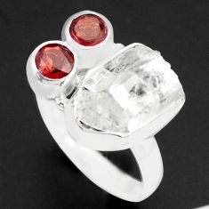 10.02cts natural white herkimer diamond garnet 925 silver ring size 8 p74043