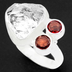 10.35cts natural white herkimer diamond garnet 925 silver ring size 8 p74046