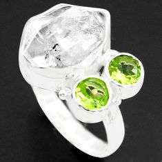 7.97cts natural white herkimer diamond peridot 925 silver ring size 7 p74030