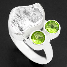7.67cts natural white herkimer diamond peridot 925 silver ring size 7 p74037