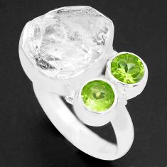 9.07cts natural white herkimer diamond peridot 925 silver ring size 7 p74052
