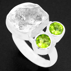 8.40cts natural white herkimer diamond peridot 925 silver ring size 6 p74059