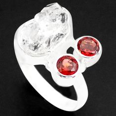 9.42cts natural white herkimer diamond red garnet 925 silver ring size 7 p74055
