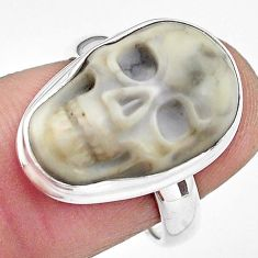 9.54cts natural white howlite 925 silver skull solitaire ring size 7 p88238