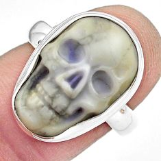 9.99cts natural white howlite 925 silver skull solitaire ring size 7 p88241