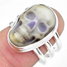 9.72cts natural white howlite 925 silver skull solitaire ring size 7.5 p88242
