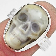 10.41cts natural white howlite 925 silver skull solitaire ring size 7 p88243