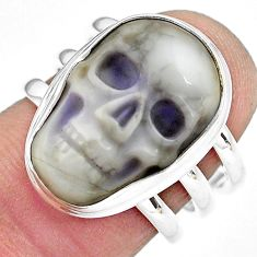 10.02cts natural white howlite 925 silver skull solitaire ring size 7 p88245