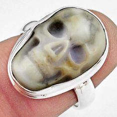 9.99cts natural white howlite 925 silver skull solitaire ring size 6 p88277