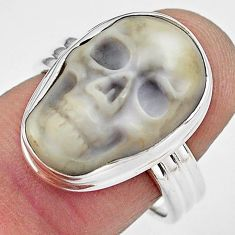 10.81cts natural white howlite 925 silver skull solitaire ring size 7.5 p88278