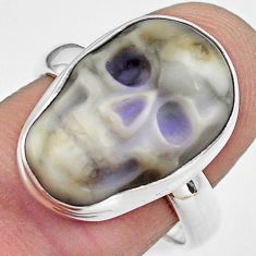 10.41cts natural white howlite 925 silver skull solitaire ring size 8.5 p88279