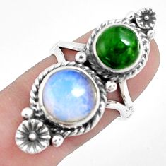 10.33cts natural white opalite chrome diopside 925 silver ring size 7 p42333