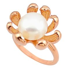 6.21cts natural white pearl 925 silver 14k rose gold solitaire ring size 9 c4744