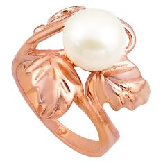 5.74cts natural white pearl 925 silver 14k rose gold solitaire ring size 9 c4746
