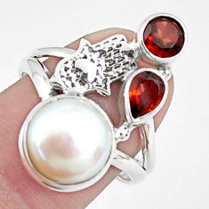 7.07cts natural white pearl 925 silver hand of god hamsa ring size 8 p42828