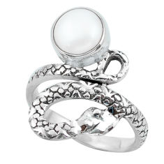 3.35cts natural white pearl 925 silver snake solitaire ring size 7.5 p62922