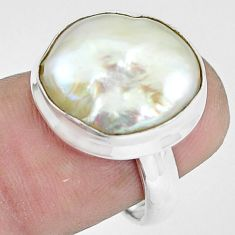 13.28cts natural white pearl 925 silver solitaire ring jewelry size 6 p60411