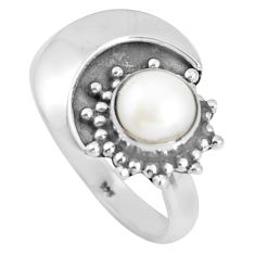 1.36cts natural white pearl 925 sterling silver ring jewelry size 6 d32582