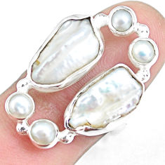 13.71cts natural white pearl 925 sterling silver ring jewelry size 7 p45090