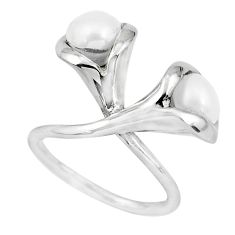 5.30cts natural white pearl 925 sterling silver ring jewelry size 5.5 p53036