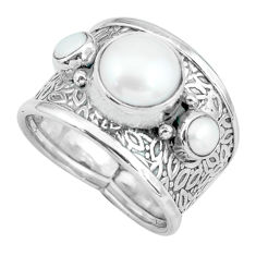 5.24cts natural white pearl 925 sterling silver ring jewelry size 8 p68481