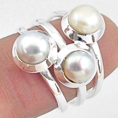 3.41cts natural white pearl 925 sterling silver ring jewelry size 6.5 p85809