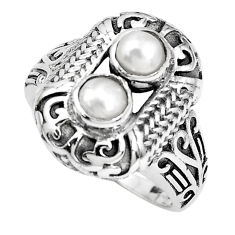 2.11cts natural white pearl 925 sterling silver solitaire ring size 8 p36076
