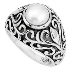 2.50cts natural white pearl 925 sterling silver solitaire ring size 6 p36154