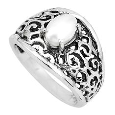 1.51cts natural white pearl 925 sterling silver solitaire ring size 7 p36189