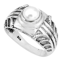 1.14cts natural white pearl 925 sterling silver solitaire ring size 7 p36272