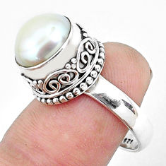 5.63cts natural white pearl 925 sterling silver solitaire ring size 8.5 p47341