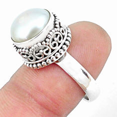 6.20cts natural white pearl 925 sterling silver solitaire ring size 8.5 p47351