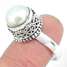 6.33cts natural white pearl 925 sterling silver solitaire ring size 6.5 p47442