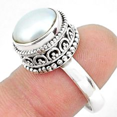 6.20cts natural white pearl 925 sterling silver solitaire ring size 6.5 p47449