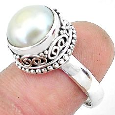 5.63cts natural white pearl 925 sterling silver solitaire ring size 7.5 p47455