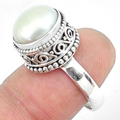6.32cts natural white pearl 925 sterling silver solitaire ring size 7.5 p47459