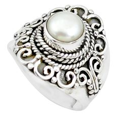 2.46cts natural white pearl 925 sterling silver solitaire ring size 8.5 p51354