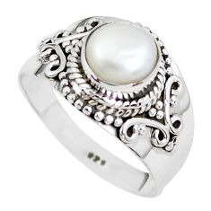 2.41cts natural white pearl 925 sterling silver solitaire ring size 8.5 p51360