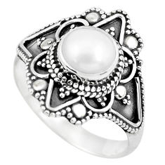 2.55cts natural white pearl 925 sterling silver solitaire ring size 7 p53088