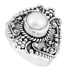 2.73cts natural white pearl 925 sterling silver solitaire ring size 9 p57642
