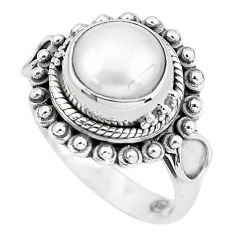 5.12cts natural white pearl 925 sterling silver solitaire ring size 6 p57662