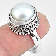 6.76cts natural white pearl 925 sterling silver solitaire ring size 8 p60422