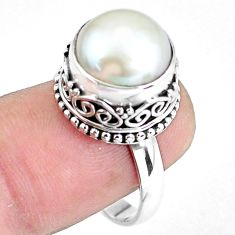 6.35cts natural white pearl 925 sterling silver solitaire ring size 8.5 p60438