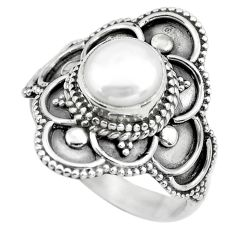 2.26cts natural white pearl 925 sterling silver solitaire ring size 5.5 p61622